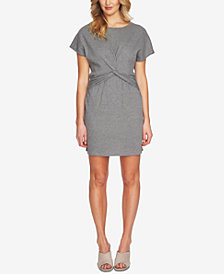 1.STATE Short-Sleeve Twist-Front Dress