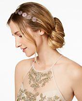 I.N.C. Rose Gold-Tone Mixed Metal Flower Elastic Headband, Created for Macy's