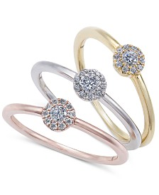 3-Pc. Diamond Cluster Stackable Ring Set (1/3 ct. t.w.)
