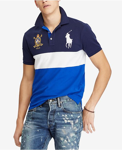3d065e05a59b Polo Ralph Lauren Men s Big Pony Custom Slim Fit Mesh Polo ...