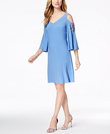 MSK Strappy Angel-Sleeve Cold-Shoulder Dress