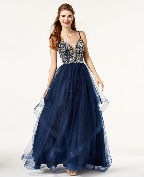 Say Yes To The Prom Juniors Embellished Tulle Gown Created For
