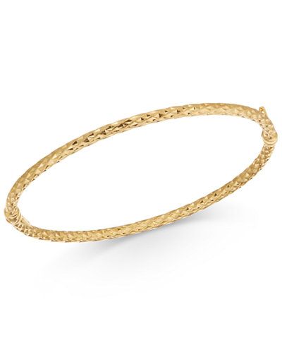 Textured Bangle Bracelet in 14k Gold