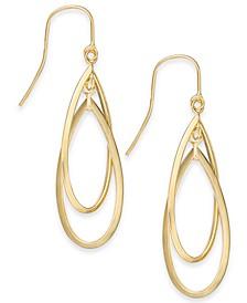 Double Hoop Dangle Drop Earrings in 14k Gold