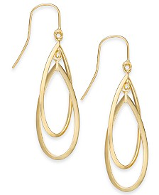 Double Hoop Dangle Drop Earrings in 14k Gold
