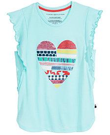 Tommy Hilfiger Heart-Print Ruffle T-Shirt, Big Girls