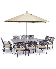 "Chateau Outdoor Aluminum 11-Pc. Dining Set (84"" X 60"" Dining Table & 10 Dining Chairs) with Sunbrella® Cushions, Created for Macy's"