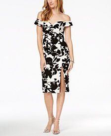 Bardot Floral Print Off-The-Shoulder Slit Midi Dress