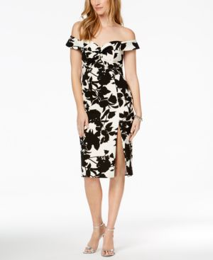 FLORAL PRINT OFF-THE-SHOULDER SLIT MIDI DRESS