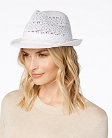 I.N.C. Crochet Packable Fedora, Created for Macy's