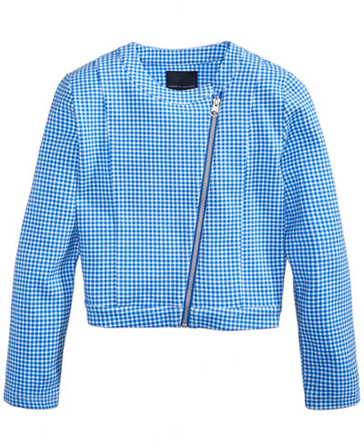Tommy Hilfiger Cropped Gingham Moto Jacket, Big Girls