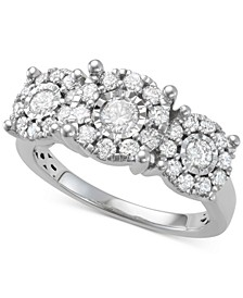 Diamond Halo Cluster Trio Engagement Ring (1 ct. t.w.) in 14k White Gold