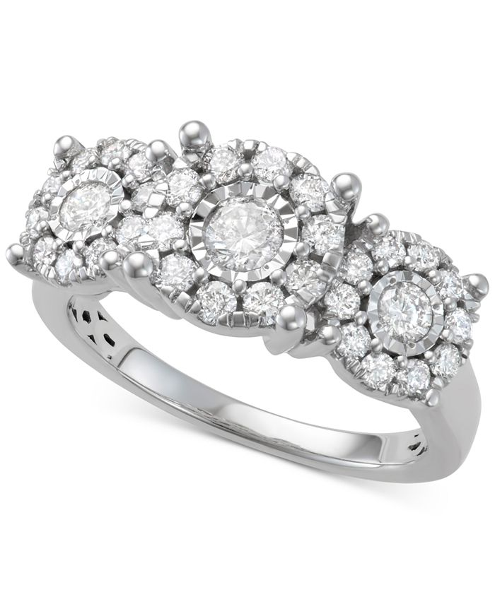 Macy's - Diamond Halo Cluster Trio Engagement Ring (1 ct. t.w.) in 14k White Gold