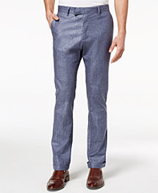 Ryan Seacrest Distinction™ Men's Slim-Fit Chambray Cuffed Pants, Created for Macy's