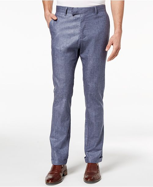 Ryan Seacrest Distinction Men's Slim-Fit Chambray Cuffed Pants, Created for Macy's