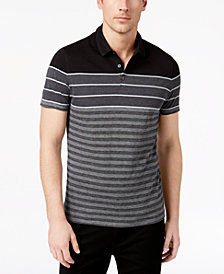 Alfani Men's Colorblocked Textured-Stripe Polo, Created for Macy's