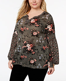 Style & Co Plus Size Floral-Print Top, Created for Macy's