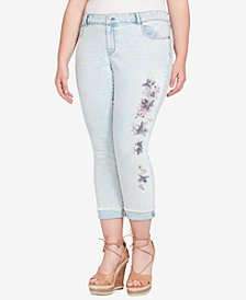 Jessica Simpson Trendy Plus Size Embroidered Skinny Jeans