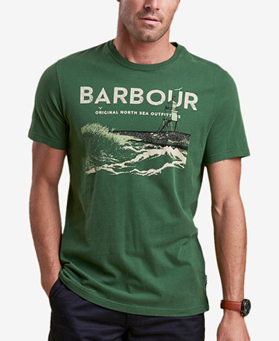 Barbour Men's Tetra Light Green Logo-Print T-Shirt