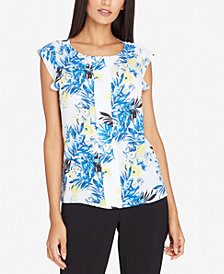 Tahari ASL Pleated Flutter-Sleeve Top