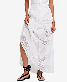 Free People Piece Of My Heart Cotton Lace-Stripe Maxi Skirt
