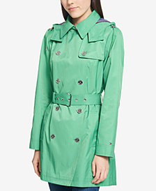 Tommy Hilfiger Water-Resistant Petite Hooded Belted Trench Coat