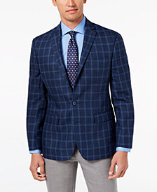 Ryan Seacrest Distinction™ Men's Modern-Fit Navy Windowpane Linen Sport Coat, Created for Macy's