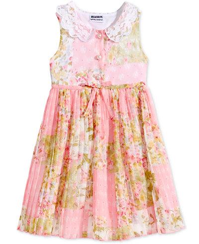 Blueberi Boulevard Floral-Print Pleated Shirtdress, Toddler Girls