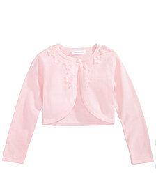 Bonnie Jean 3D Flower Trim Cotton Cardigan, Little Girls