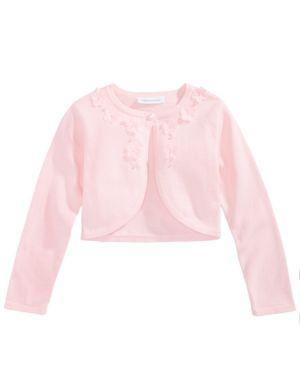 Bonnie Jean 3D Flower Trim Cotton Cardigan, Toddler Girls 5814019