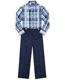 Nautica 4-Pc. Madras Plaid Shirt, Pants, Bowtie & Suspenders Set, Little Boys