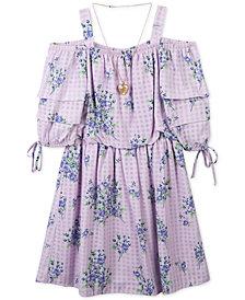 Speechless Floral-Print Gingham Dress & Necklace Set, Big Girls