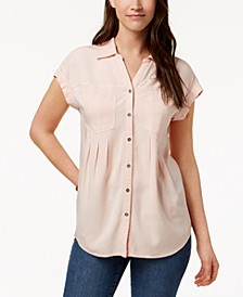 Pleated Cuffed-Sleeve Top, Created for Macy's