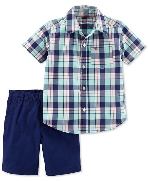 2-Pc. Plaid Cotton Shirt & Shorts Set, Toddler Boys