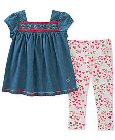 Calvin Klein 2-Pc. Denim Tunic & Heart-Print Leggings Set, Toddler Girls