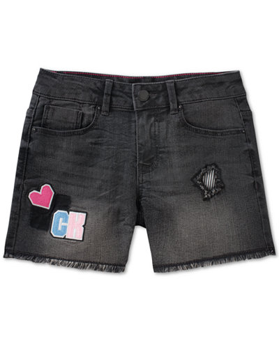 Calvin Klein Cut-Off Cotton Denim Shorts, Big Girls
