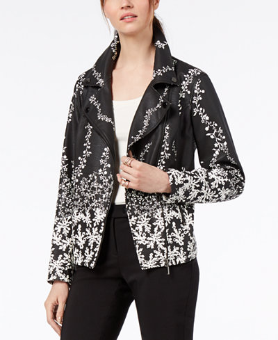 Alfani Printed Faux-Leather Moto Jacket, Created for Macy's