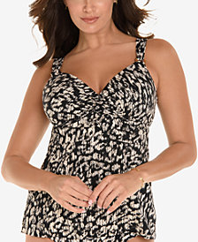 Miraclesuit Cat Walk Printed D-Cup Bra-Sized Underwire Empire Waist Tankini Top