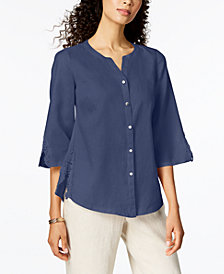 JM Collection Linen Crochet-Contrast Shirt, Created for Macy's