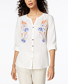 JM Collection Embroidered Linen Shirt, Created for Macy's