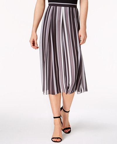 Anne Klein Bridle Stripe Midi Skirt