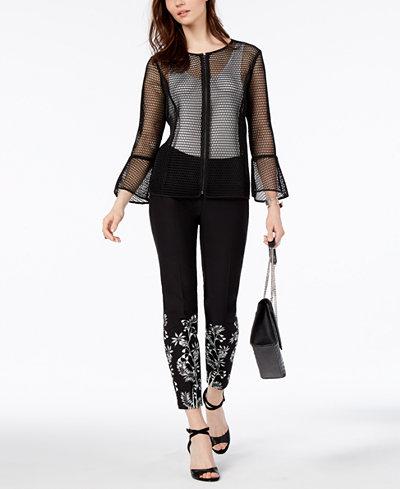 Alfani Sheer Mesh Jacket & Printed Skinny Pants, Created for Macy's