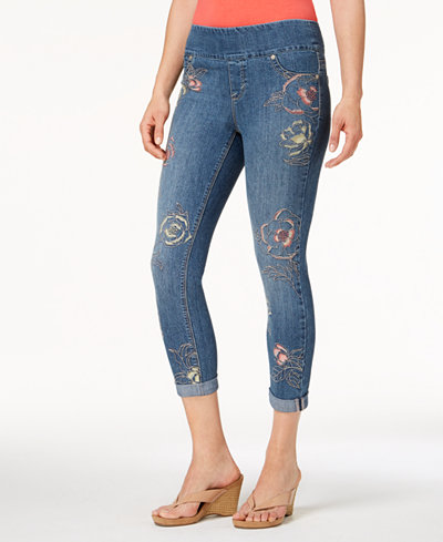 Style & Co Petite Embroidered Pull-On Cropped Jeans, Created for Macy's