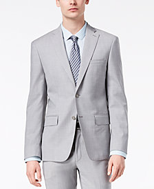DKNY Men's Modern-Fit Stretch Gray Sharkskin Suit Jacket