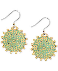 Lucky Brand Gold-Tone Patina Circular Drop Earrings