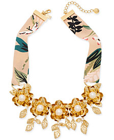 "kate spade new york Gold-Tone Crepe Fabric Imitation Pearl Flower Statement Necklace, 17"" + 3"" extender"