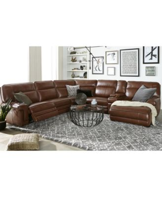 Myars 3-Pc. Leather Chaise Sectional Sofa With 1 Power Recliner, Power Headrests And USB Power Outlet, Created for Macy's