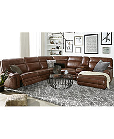Myars Leather Power Reclining Sectional Collection, Created for Macy's