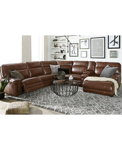 Myars 6-Pc. Leather Chaise Sectional Sofa With 1 Power Recliner, Power  Headrest, And Console With USB Power Outlet, Created for Macy\'s