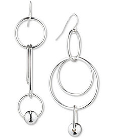 Lauren Ralph Lauren Silver-Tone Bead Orbital Drop Earrings